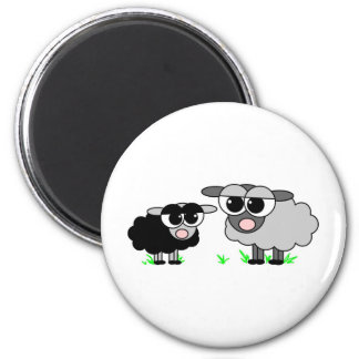 Cute Little Black Sheep and BigGray Sheep 6 Cm Round Magnet