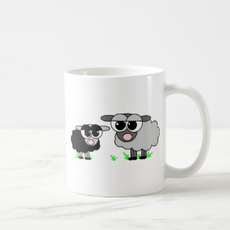 Cute Little Black Sheep and BigGray Sheep Basic White Mug