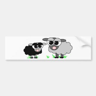 Cute Little Black Sheep and BigGray Sheep Bumper Sticker