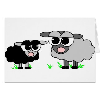 Cute Little Black Sheep and BigGray Sheep Greeting Card