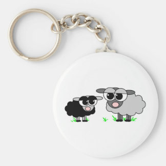 Cute Little Black Sheep and BigGray Sheep Basic Round Button Key Ring