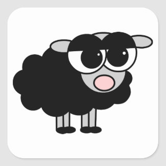 Cute Little Black Sheep Square Square Sticker