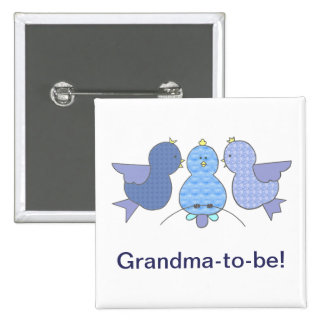Cute Little Blue Grandma to be,  Birds Baby Shower 15 Cm Square Badge