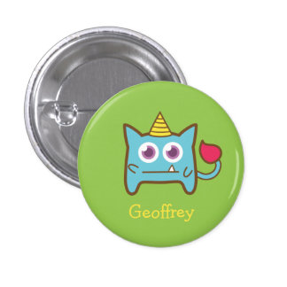 Cute Little Blue Monster with Horn for kids Buttons