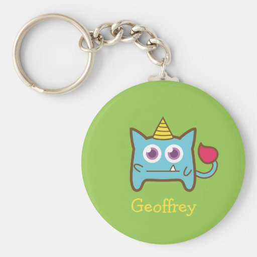 Cute Little Blue Monster with Horn for kids Key Chains