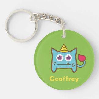 Cute Little Blue Monster with Horn Double-Sided Round Acrylic Key Ring