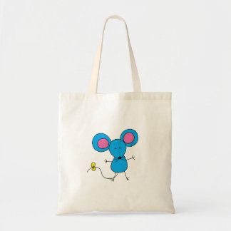 Cute little blue mouse tote bag