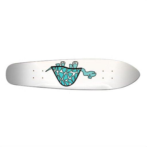Cute little blue turtle skateboard