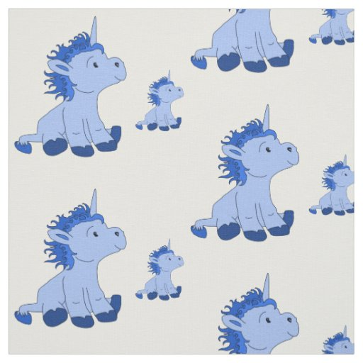 Cute Little Blue Unicorns Fabric