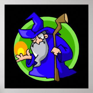 Cute little blue wizard posters