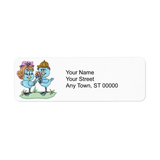 cute little bluebirds in love cartoon graphic