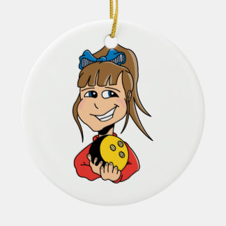 cute little bowling girl kid graphic christmas ornament