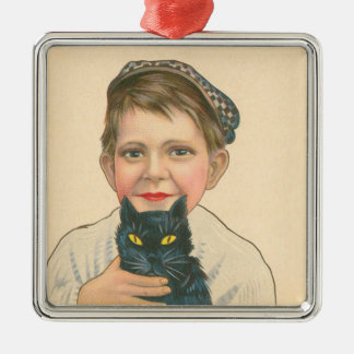 Cute Little Boy Black Cat Christmas Ornament