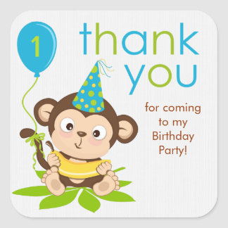 Cute Little Boy Monkey Thank You Sticker