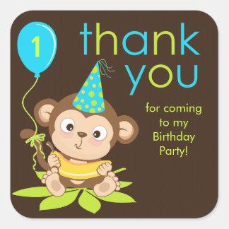 Cute Little Boy Monkey Thank You Sticker