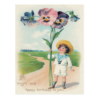 Cute Little Boy Pansy Pansies Postcard