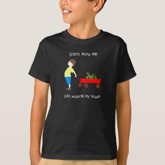 cute little Boy walking his Pet Snake T-Shirt
