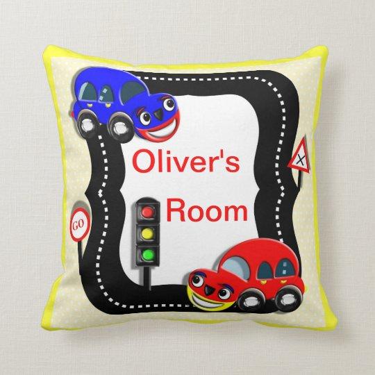 Cute Little Boys Car Theme Picture Throw Pillow