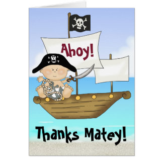 Cute Little Buccaneer Baby Boy Pirate Thank You Card