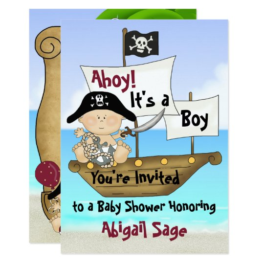 Cute Little Buccaneer Pirate Baby Shower Invite