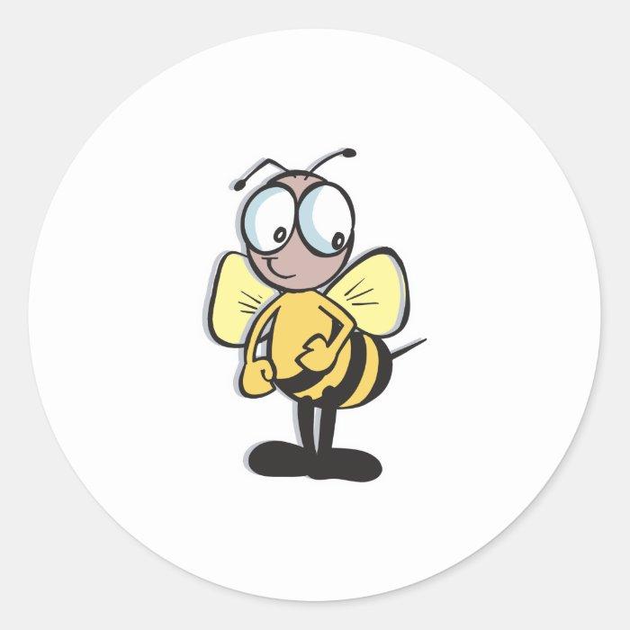 cute little bumble bee round sticker