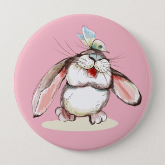 Cute little bunny with pretty butterfly 10 cm round badge