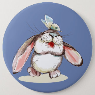 Cute little bunny with pretty butterfly 6 cm round badge