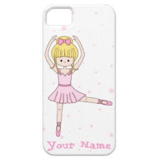 Cute Little Cartoon Ballerina Girl in Pink Case For The iPhone 5