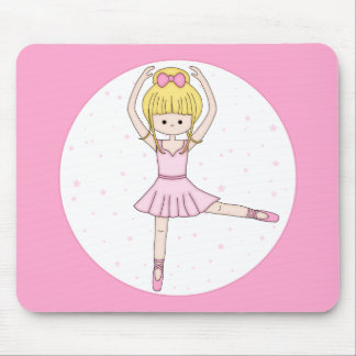 Cute Little Cartoon Ballerina Girl in Pink Mouse Pad