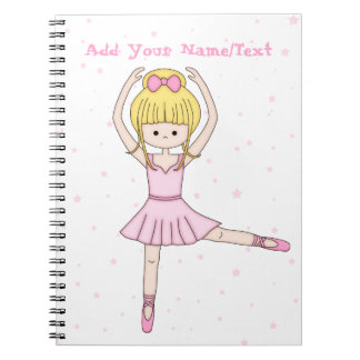Cute Little Cartoon Ballerina Girl in Pink Spiral Notebook