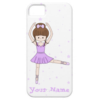 Cute Little Cartoon Ballerina Girl in Purple Barely There iPhone 5 Case
