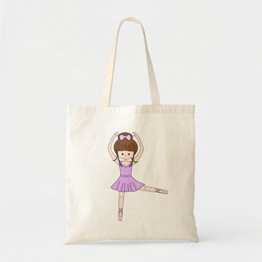 Cute Little Cartoon Ballerina Girl in Purple Tote