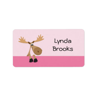 Cute little cartoon moose - pink name label/tag label
