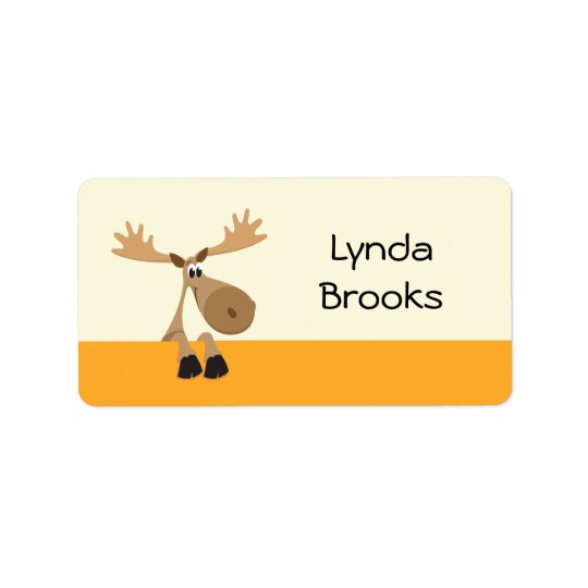 Cute little cartoon moose yellow name label/tag address label