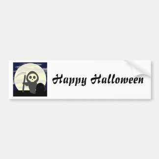 Cute Little Cartoon Skeleton Grim Reaper Bumper Sticker