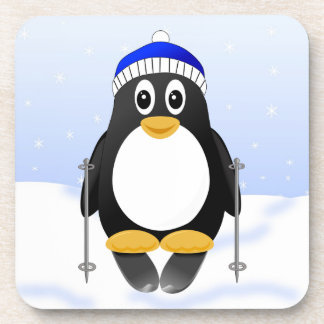Cute Little Cartoon Skiing Penguin Coaster