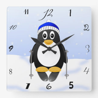 Cute Little Cartoon Skiing Penguin Square Wall Clock