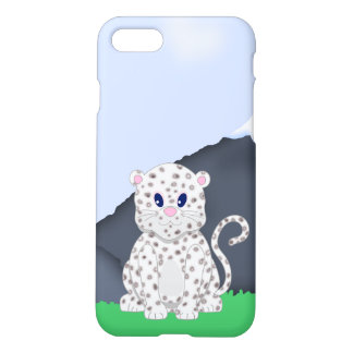 Cute little Cartoon Snow Leopard Cub iPhone 7 Case