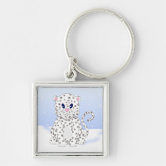 Cute little Cartoon Snow Leopard Cub Silver-Colored Square Key Ring