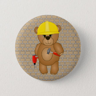 Cute Little Cartoon Teddy Bear Handyman with Tools 6 Cm Round Badge