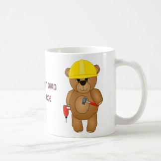 Cute Little Cartoon Teddy Bear Handyman with Tools Basic White Mug
