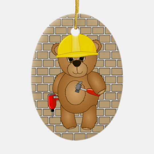 Cute Little Cartoon Teddy Bear Handyman with Tools