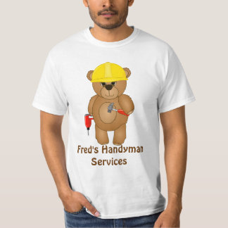 Cute Little Cartoon Teddy Bear Handyman with Tools T-Shirt