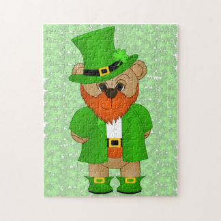 Cute Little Cartoon Teddy Bear Leprechaun Jigsaw Puzzle
