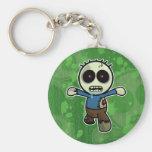 Cute Little Cartoon Zombie Basic Round Button Key Ring