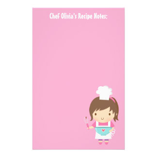 Cute Little Chef Baker Girl Recipe Personalized Stationery