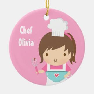 Cute Little Chef Baker Girls Room Decor Round Ceramic Decoration