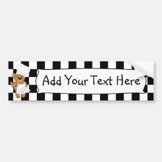 Cute Little Chef Costume Teddy Bear Cartoon Bumper Sticker