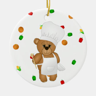Cute Little Chef Costume Teddy Bear Cartoon Christmas Ornament