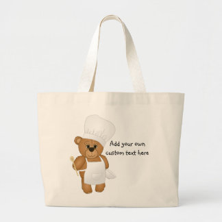 Cute Little Chef Costume Teddy Bear Cartoon Large Tote Bag